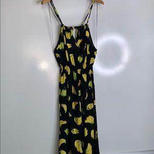 BANANA PRINT Jewel Neck Maxi Summer Dress